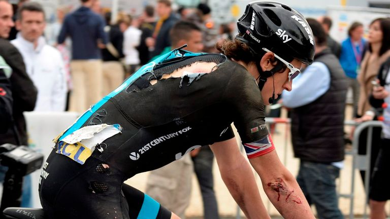 Geraint Thomas crashed out of Paris-Nice race