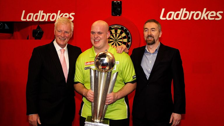 Michael van Gerwen with PDC chairman Barry Hearn