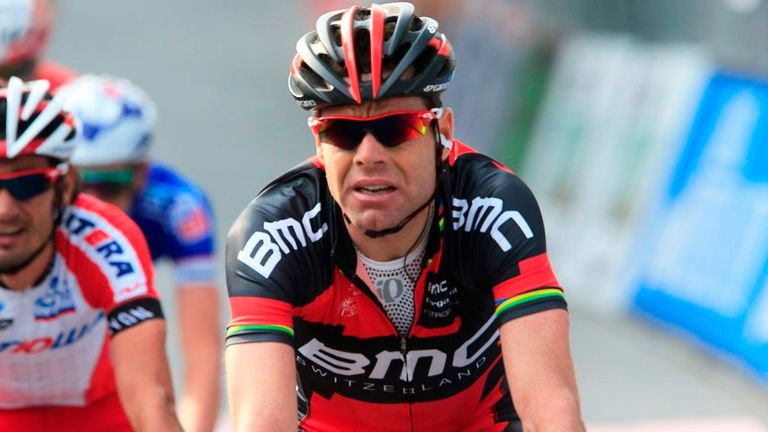 Cadel Evans finishes Stage 3 of the 2014 Tirreno Adriatico