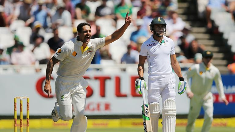 Mitchell Johnson: Celebrates the wicket of AB de Villiers on day three