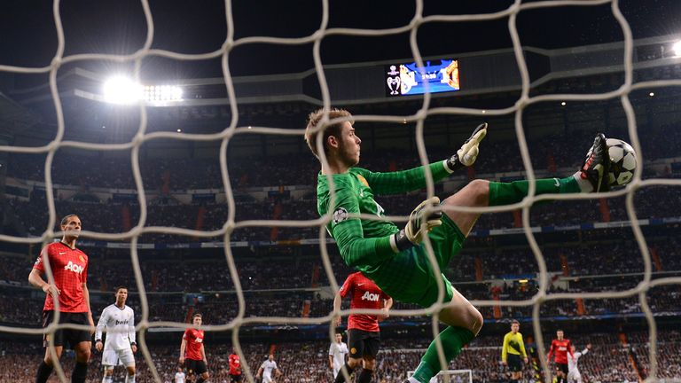 De Gea uses his feet to deny Real Madrid
