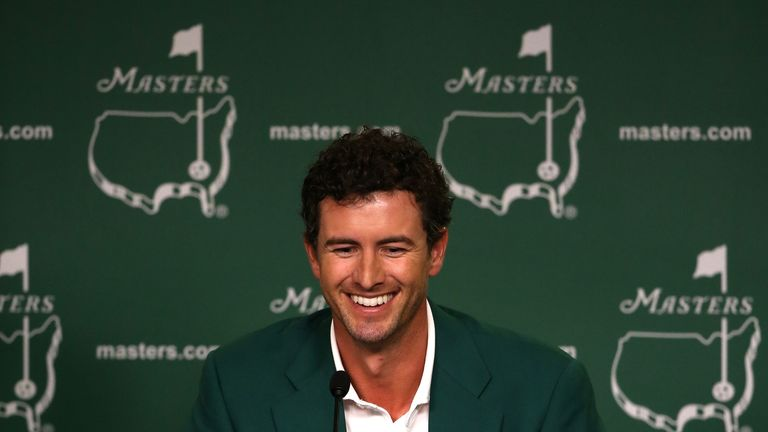Adam Scott of Australia addresses the media after winning the 2013 Masters
