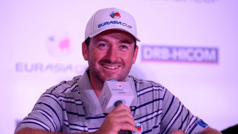 Graeme McDowell of Team Europe talking to the press at the EurAsia Cup