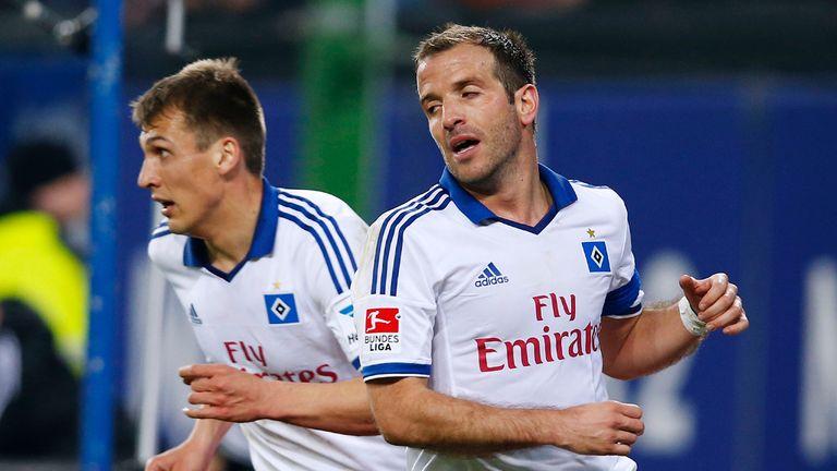 Rafael van der Vaart of Hamburg appears frustrated
