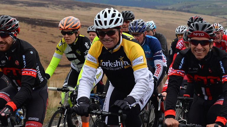 Tour legend Bernard Hinault enjoys a ride in Yorkshire on Wednesday