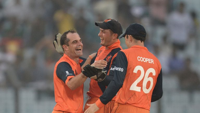 The Netherlands celebrate a wicket during their win over England in Bangladesh