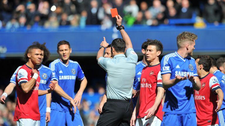 Andre Marriner mistakenly sent off Kieran Gibbs at Stamford Bridge