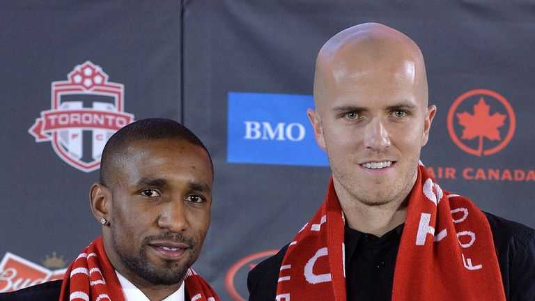 Toronto FC new boy Jermain Defoe (pictured with USA international Michael Bradley) will make his debut at the weekend
