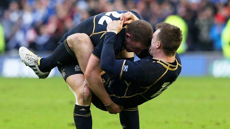 Duncan Weir and Stuart Hogg in celebratory mood