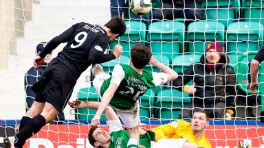 John Sutton scores his second goal for Motherwell against Hibernian