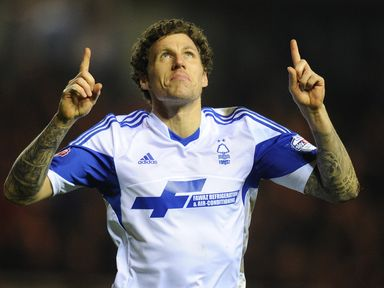 Darius Henderson celebrates his goal at the Riverside