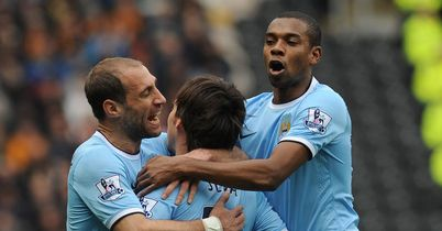 David Silva: Match-winner crowded by his team-mates