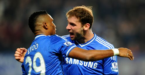 Samuel Eto'o: Celebrates his goal at Stamford Bridge