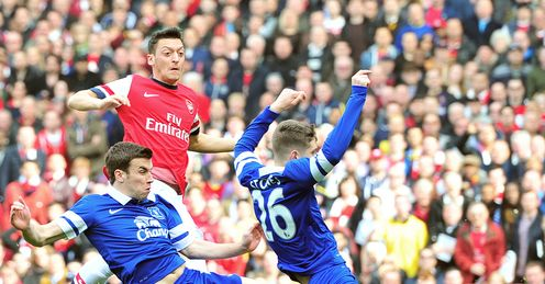 Mesut Ozil fires Arsenal in front at the Emirates