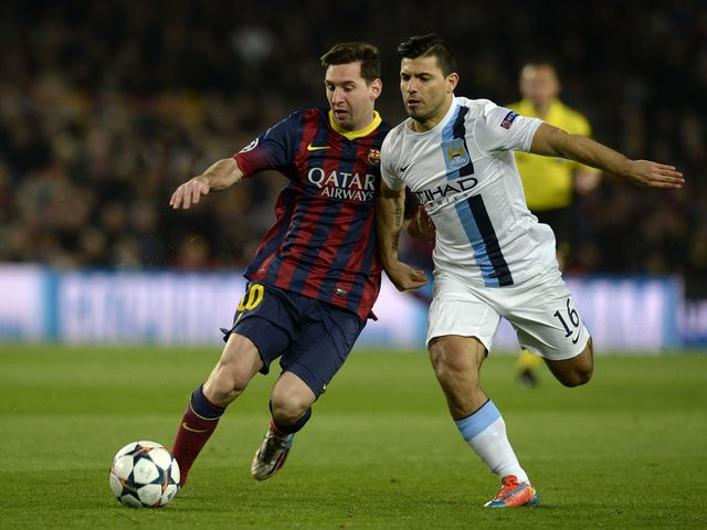 Lionel Messi and Sergio Aguero tangle