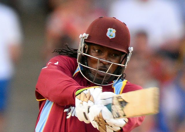 Chris Gayle adds more runs to the West Indies total