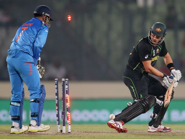Shane Watson is bowled as Australia succumb to a heavy defeat