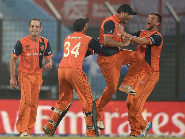 The Dutch celebrate a famous win over England