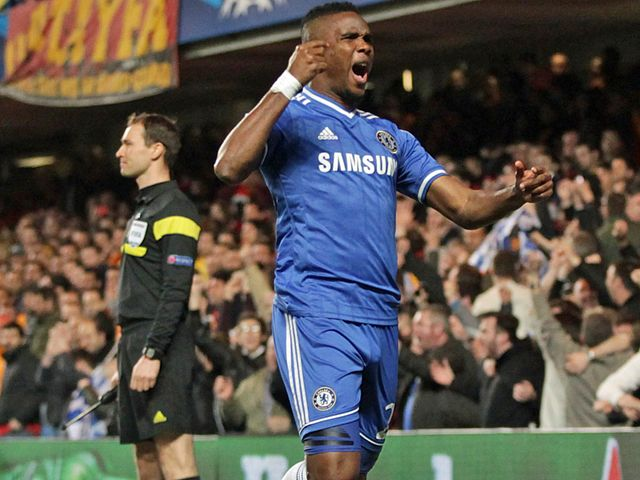 Samuel Eto'o celebrates after netting the opening goal