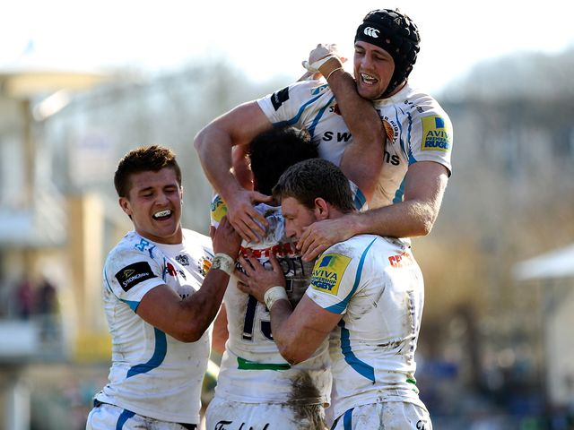 Exeter celebrate one of Luke Arscott's tries