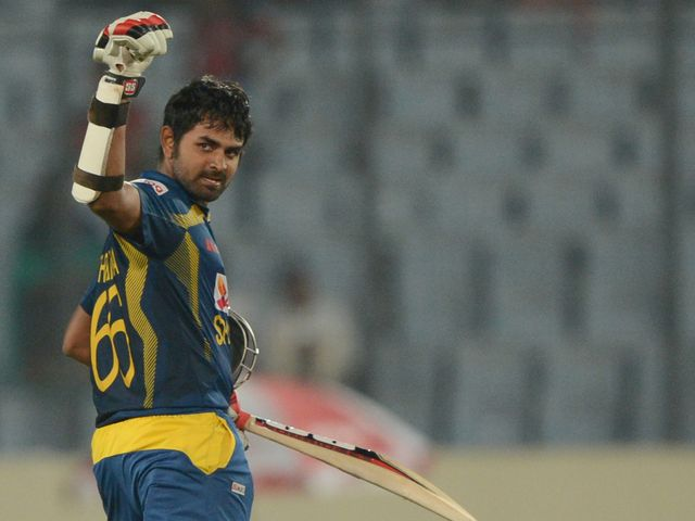 Lahiru Thirimanne celebrates his match-winning century