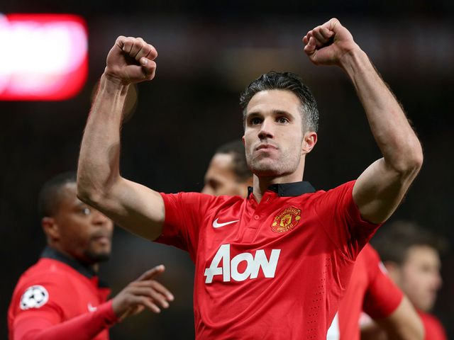 Robin van Persie celebrates his hat-trick goal