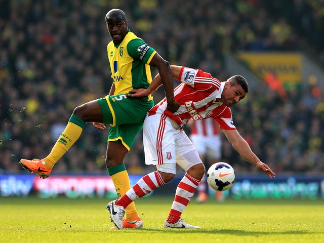 Sebastien Bassong and Jonathan Walters battle for the ball