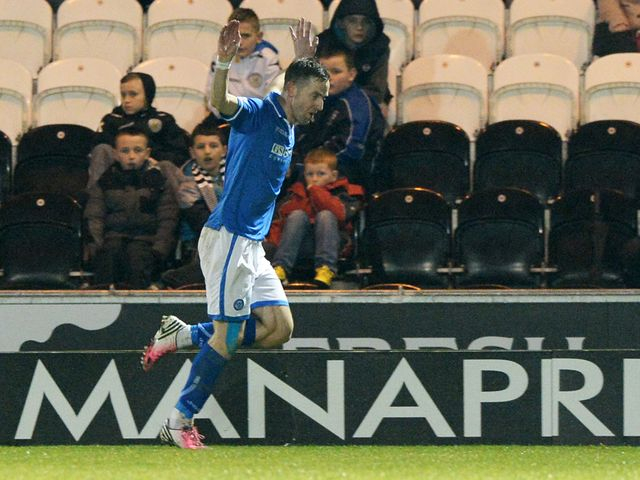 St Johnstone striker Steven MacLean celebrates after opening the scoring