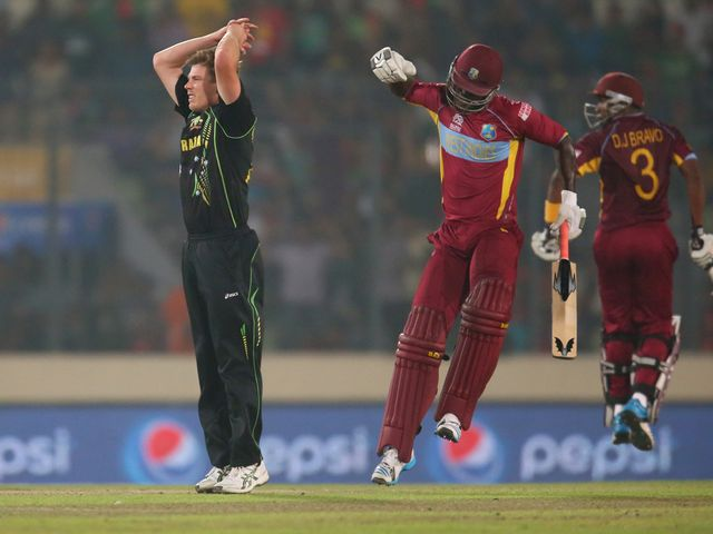 West Indies celebrate their six-wicket victory over Australia