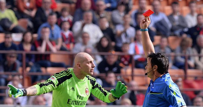 AC Milan goalkeeper Christian Abbiati is sent off