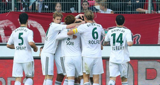 Bayer Leverkusen celebrate Gonzalo Castro's goal