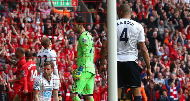 Younes Kaboul: Puts Liverpool ahead just two-minutes in