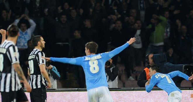 Jose Callejon celebrates the opening goal