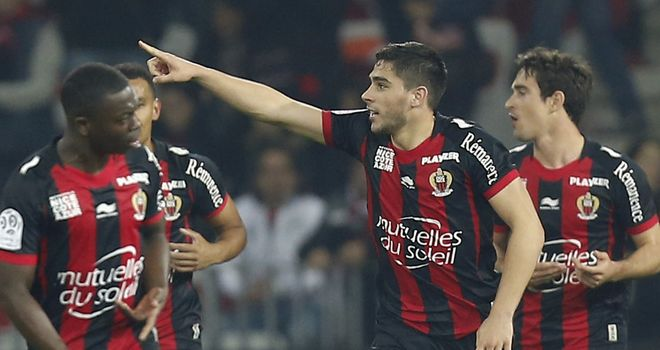 Neal Maupay celebrates scoring for Nice