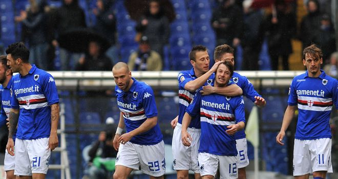 Sampdoria celebrate against Verona