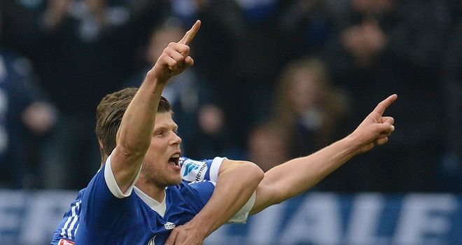 Klaas-Jan Huntelaar celebrates a goal for Schalke
