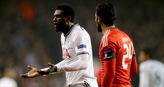 Emmanuel Adebayor and Tottenham had a tough night against Benfica
