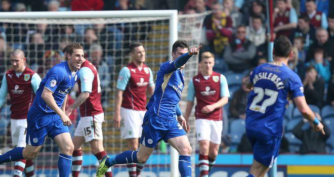 David Nugent: Leicester striker celebrates his goal at Burnley