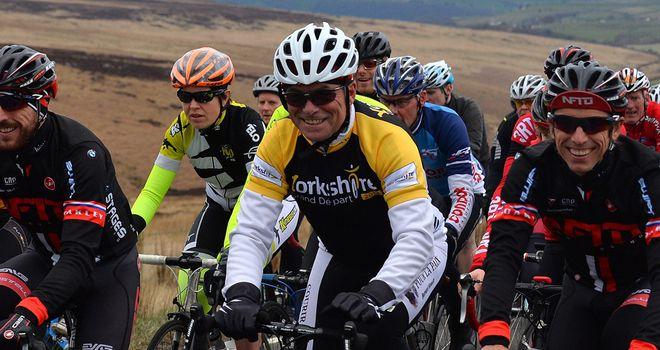 Tour legend Bernard Hinault enjoys a ride in Yorkshire on Wednesday