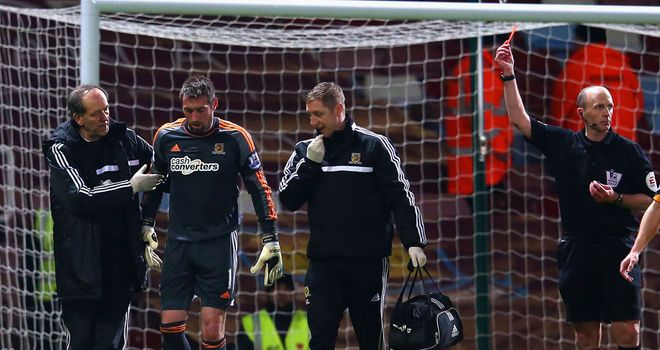 Allan McGregor: Was sent off for his challenge on Mo Diame