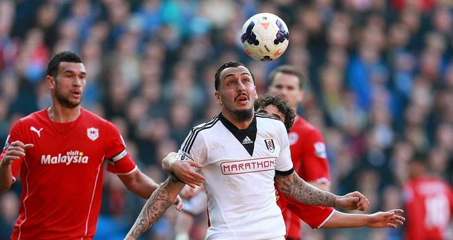 Kostas Mitroglou: Fulham striker in action against Cardiff