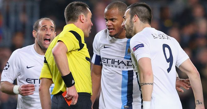 Man City were disappointed with referee Stephane Lannoy at the Nou Camp