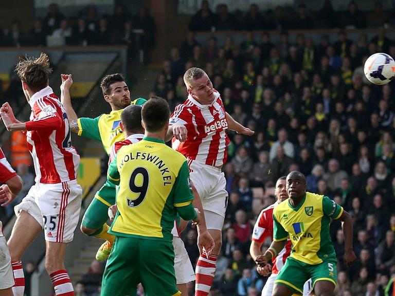 Bradley Johnson scored with his head against Stoke