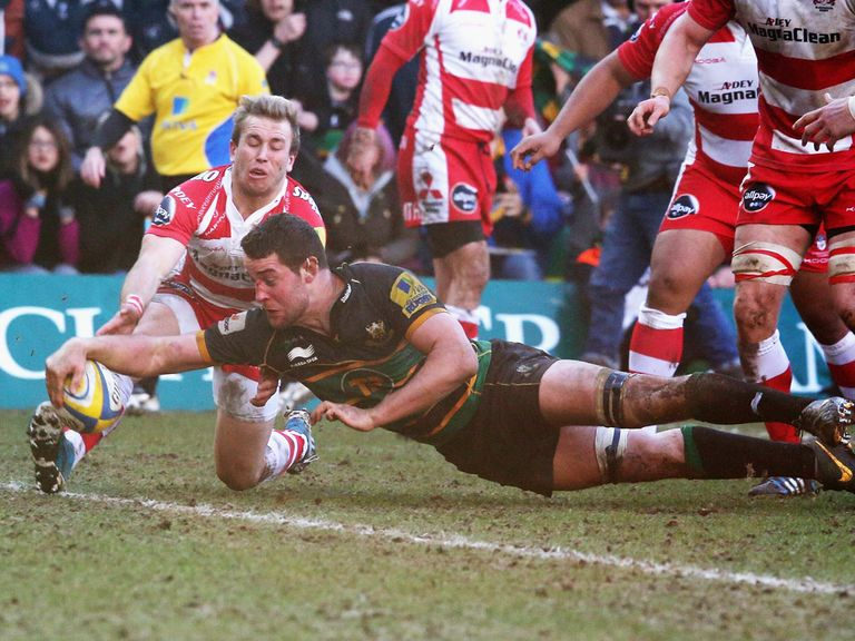 Calum Clark scores for Northampton in their comfortable win