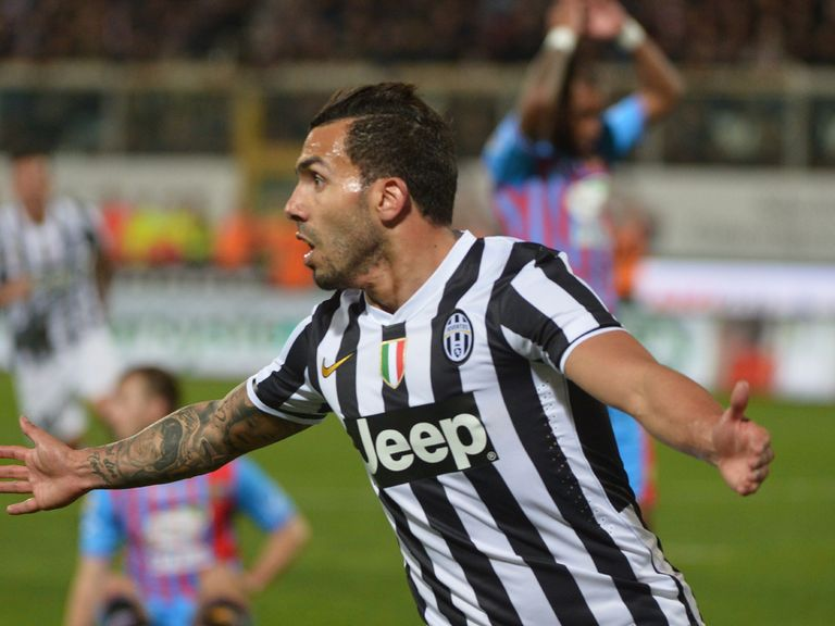 Carlos Tevez celebrates his goal for Juventus