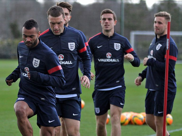 Ashley Cole and Luke Shaw at England training