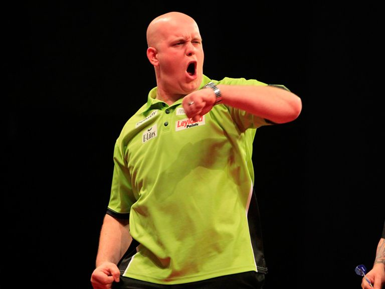 Michael van Gerwen: Two points clear after fractious win over Peter Wright