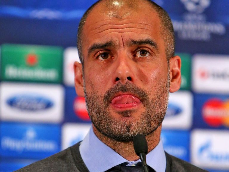 Pep Guardiola talks the the media on Monday