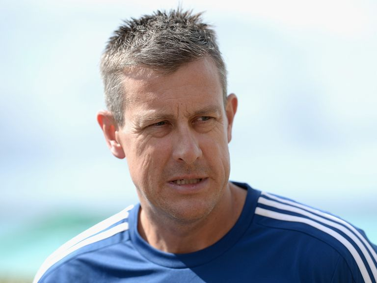 Ashley Giles speaks to the media in Bridgetown