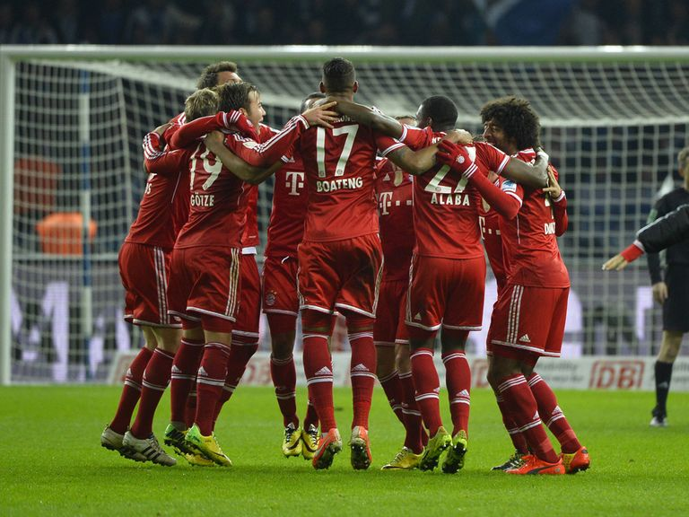 Bayern Munich's players celebrate after winning the league